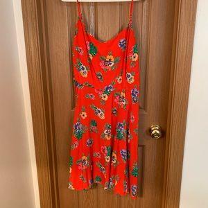Tropical print midi dress